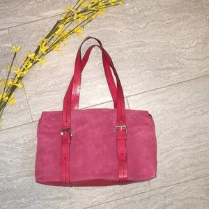Kenneth Cole Raspberry Suede & Leather Bag